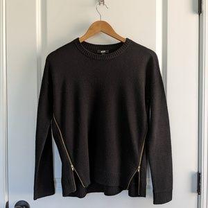 JCrew Black Wool Sweater w Gold Zippers